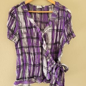 Cato purple, white, and black blouse with ruffles.